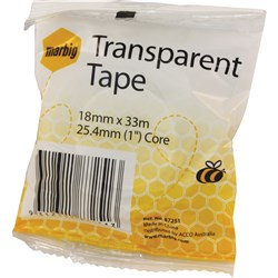 Marbig Transparent Tape Clear 18mm x 33m (25.4mm core)