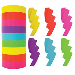 Rainbow Paper Streamers 14mm x 15m Asst