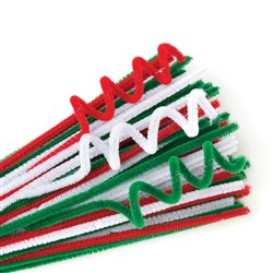 Chenille Stems 15cm Long + 6mm Diameter Christmas Pack Asst