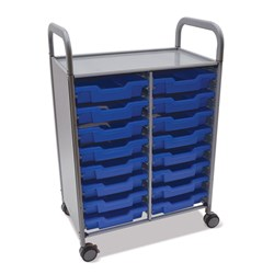 Gratnells Callero Double Trolley 16 Shallow Trays Blue