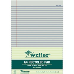 Office Pad Recycled Paper A4 Ruled 80 Leaf