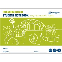 Exercise Book 12mm Double Ruled+ Guide Khaki 70gsm 32 pg