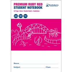 Exercise Book 6mm Double Ruled + Guide Ruby Red 70gsm 32 pg