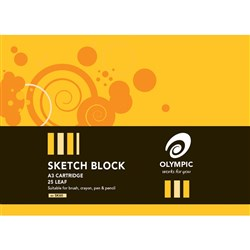 Olympic Sketch Block #60 A3 110gsm Cartridge 25 Leaf