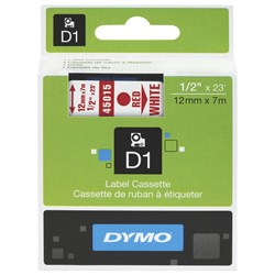 Dymo D1 Label Tape 12mm Red on White