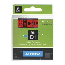 Dymo D1 Label Tape 12mm Black on Red