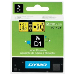 Dymo D1 Label Tape 12mm Black on Yellow