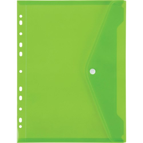 Marbig Binder Pocket With Button Closure Lime