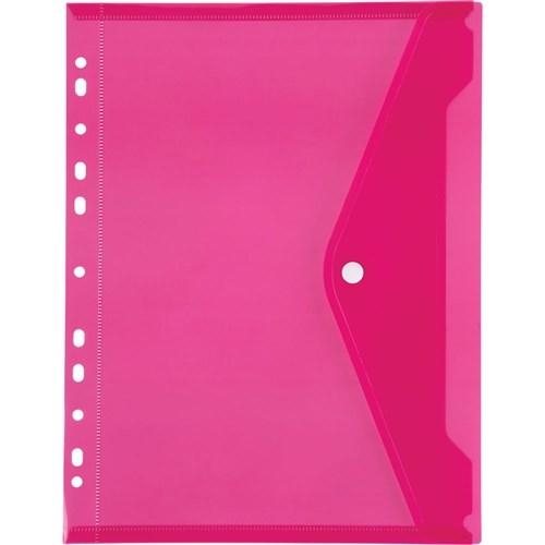 Marbig Binder Pocket With Button Closure Pink