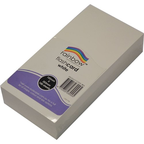 Rainbow Flash Cards Blank 290gsm 102 x 203mm White
