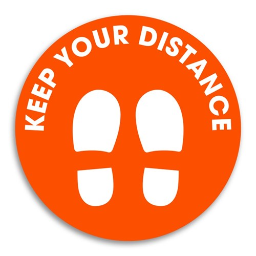 Outdoor Floor Sign Markers - Keep your distance 250m Round