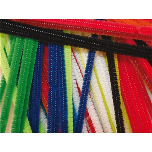 Chenille Stems 300mm Long+12mm Diameter Asst (Pipe Cleaners)