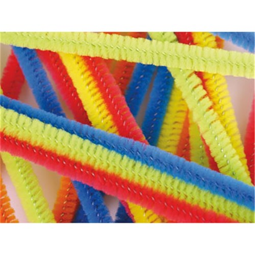 Chenille Stems 300mm Long +6mm Diameter Asst (Pipe Cleaners)