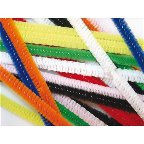 Chenille Stems 150mm Long +6mm Diameter Asst (Pipe Cleaners)
