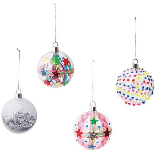 Plastic Baubles 70mm Clear