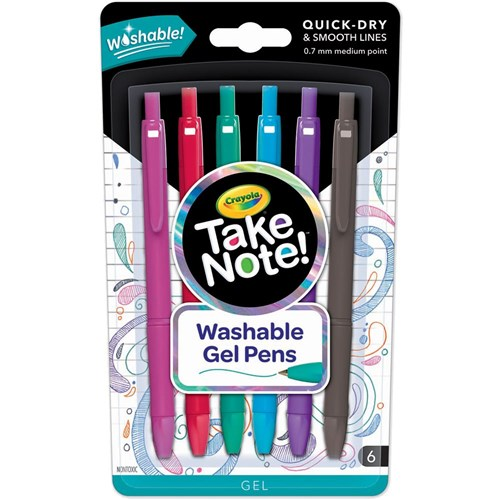 Crayola Take Note! Washable Gel Pens Retractable Asst