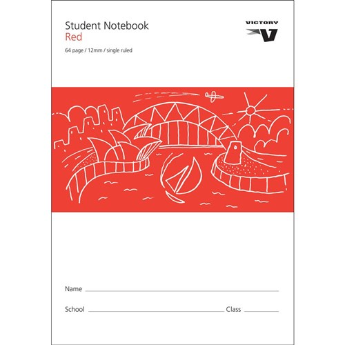 Exercise Book 12mm Single Ruled Red 70gsm 64 pg