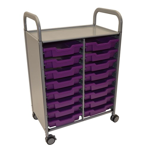 Gratnells Callero Double Trolley 16 Shallow Trays Purpl