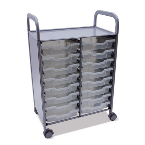 Gratnells Callero Double Trolley 16 Shallow Trays Clear