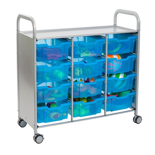 Gratnells Callero Treble Trolley 12 Deep Trays Blueberr