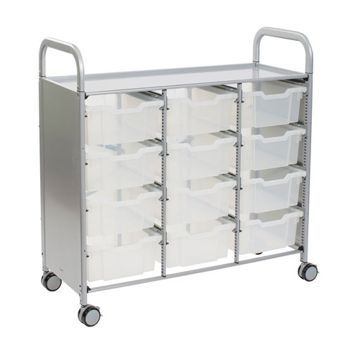 Gratnells Callero Treble Trolley 12 Deep Trays Clear