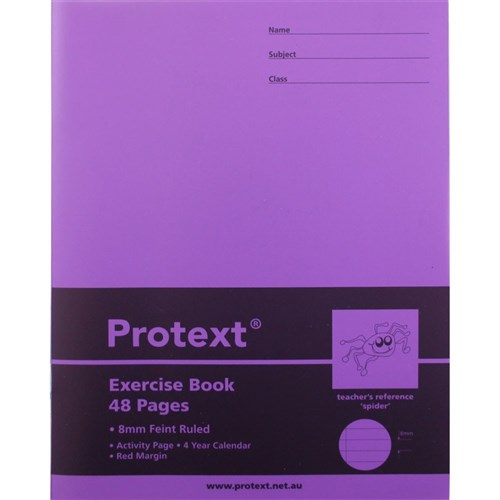 Protext Exercise Book PP 225 x 175mm 8mm Spider 48 pg