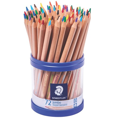 STAEDTLER Jumbo Natural Coloured Pencils + Cup