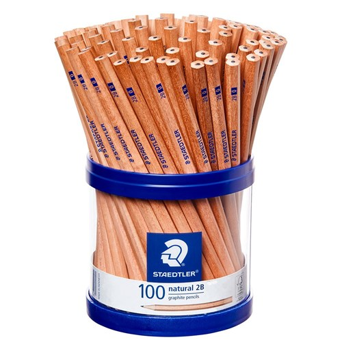 STAEDTLER Natural Graphite Pencils 2B + Storage Cup