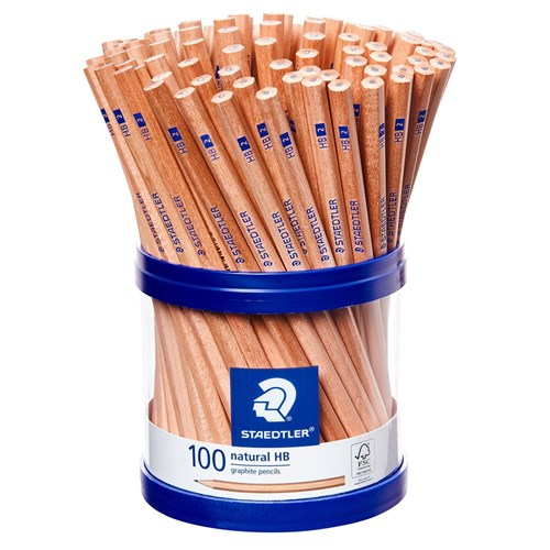 STAEDTLER Natural Graphite Pencils HB + Storage Cup