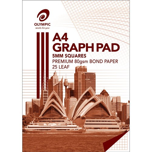 Olympic Graph Pad A4 5mm Squares 25 Leaf