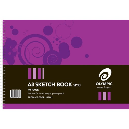 Olympic Sketch Book A3 Perforated Spiral Bound 40 pg