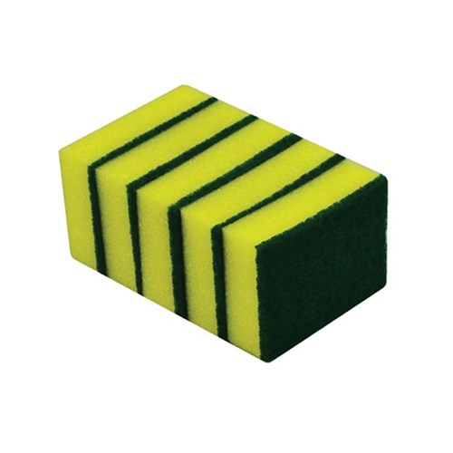 General Purpose Sponge Scourer 100 x 75mm Green / Yellow