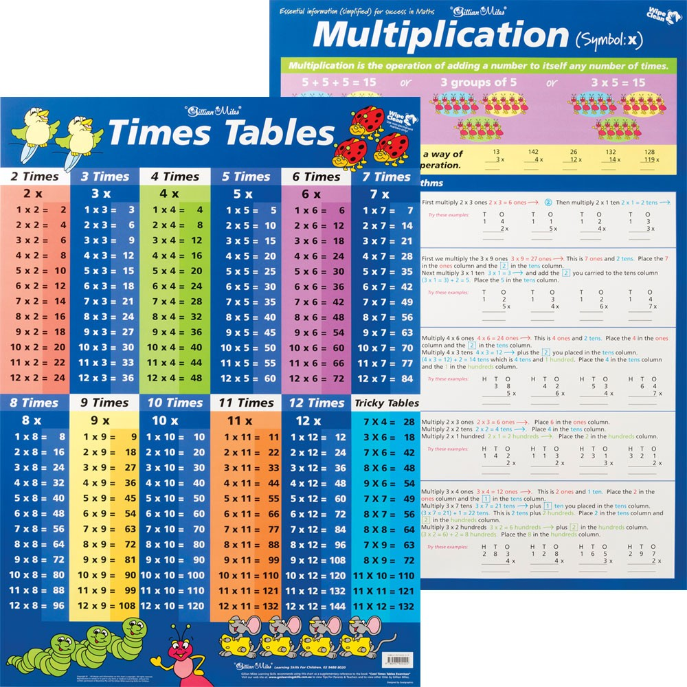 ZECC229 - Chart - Times Tables Blue / Multiplication Double Sided ...