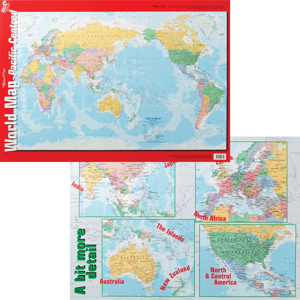 Zecc755 chart world map pacific centred double sided chart gumiabroncs Image collections